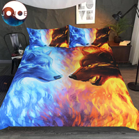 Fire and Ice by JoJoesArt Bedding Set Blue and Yellow 3D Quilt Cover With Pillowcases Wolf Wolves Bed Set 3 Piece Home Textiles