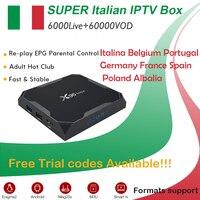 GOTiT Italy X96 Max Android 8.1 TV Box Amlogic S905X2 Dual WIFI +6000+ live Super IPTV Albania Portugal Germany Adult Set up Box