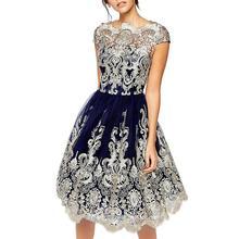 2019 New Yfashion Women Fashion Gauze Embroidery Vintage Style Hollow Out Dress