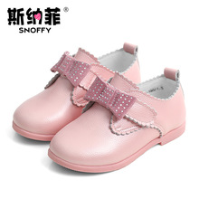 Snoffy Genuine Leather Children's High Heel Shoes Chaussure Fille Mariage Rhinestone Bow Girls Dress Shoes Tenis Infantil TX282