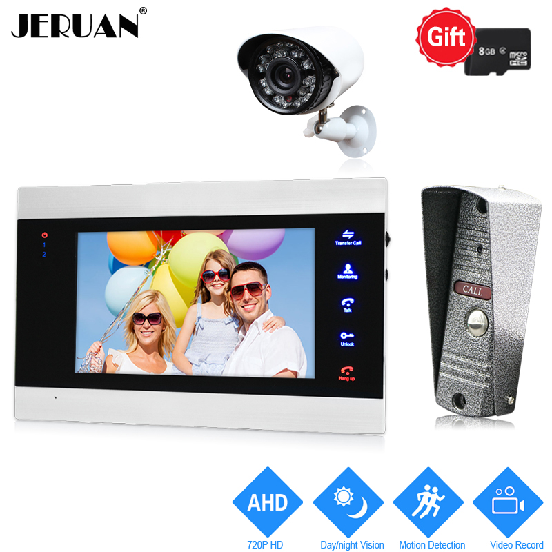 JERUAN 720P AHD Motion Detection 7 inch Video Door Phone Intercom System kit Record Monitor +1.0MP HD IR Mini Camera +AHD Camera