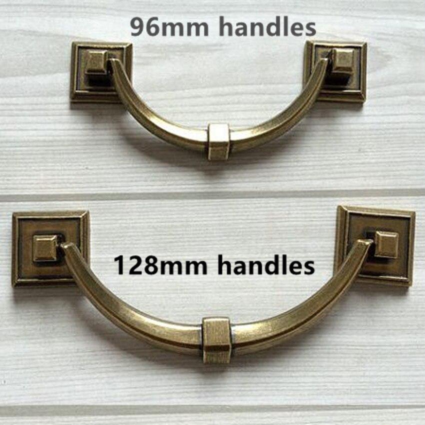 """5 """"Horizontale Wackeligen Dresser Pull Pull Vintage Rustico Platz Küchenschrank Türgriff Retro Antike Bronze zieht 128mm"""