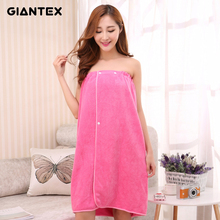 GIANTEX Women Bath Towel Bath Robe Bathrobe Body Spa Bath Bow Wrap Towel Super Absorbent Bath Gown U1487