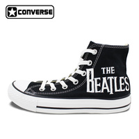 Painted Converse All Star Mens Shoes High Top Beatles Canvas Painting Artwork Black Canvas Sneakers Best