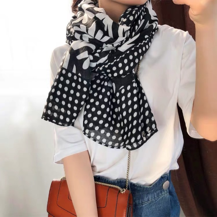 women black hijab   scarf   female autumn spring Israel design long vintage black print neck   scarf     Wraps   Pashmina Stole Muslim Sjaal