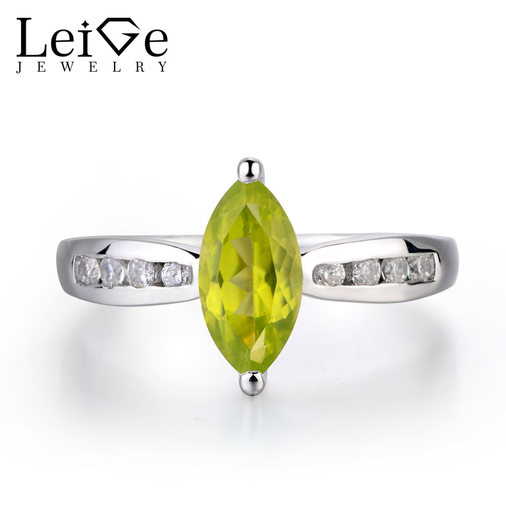 купить Leige Jewelry Genuine Natural Peridot Ring Wedding Ring 925 Sterling Silver Ring Marquise Cut Green Gemstone August Birthstone по цене 6799.75 рублей