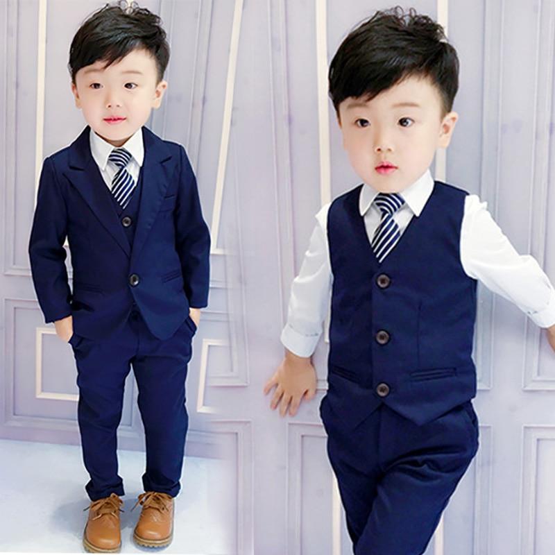 Kids Formal Wear 4 Piece Boys Suit Set Light Sky Blue Shirt Black Vest