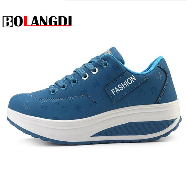 Bolangdi New Platform Chaussure Femme Sport Shoes Woman Leather Lady Sports Shoes Summer Running Shoes Women's Sneakers Walk