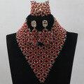 Большой Продвижение Новейших Дизайн Нигерийские Свадебные Африканские Бусы Комплект Ювелирных Изделий V-образным Вырезом Африканский Костюм Хрустальные Бусины Бесплатная Доставка ALJ739