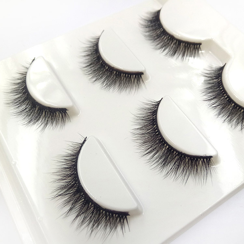 New Fashion Natural Short Paragraph 3D False Eyelashes Cotton Stalk Cross Curl Fake Eyelashes Performing Stage Makeup Eye Lashes