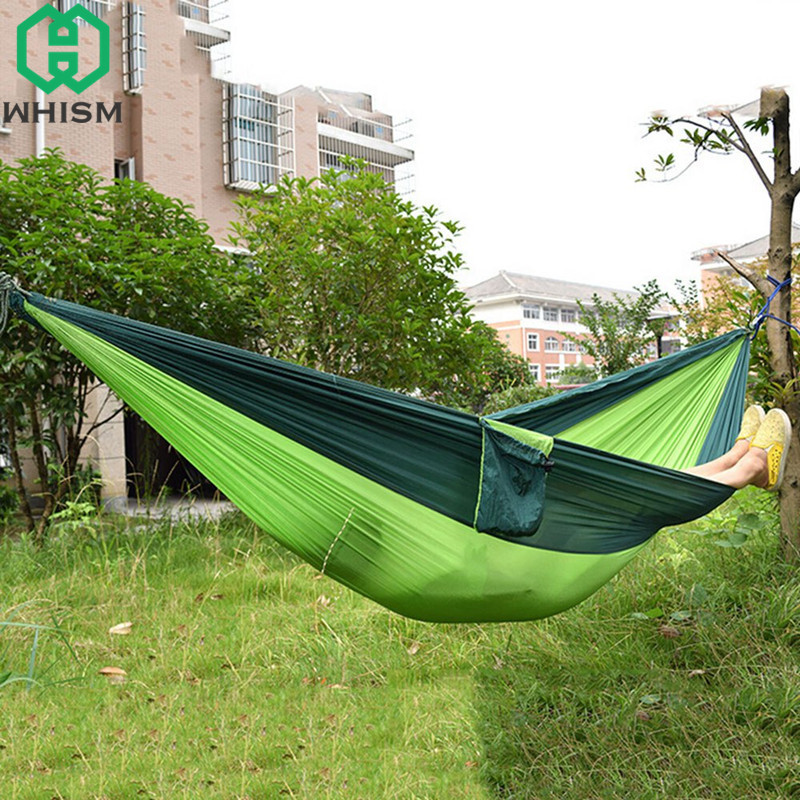 WHISM Portable 2 Person Outdoor Hammock 270x140CM Camping Mat Hanging Sleeping Bed Garden Folding Parachute Nylon Swing Hammock portable nylon parachute double hammock garden outdoor camping travel furniture survival hammock swing sleeping bed for 2 person