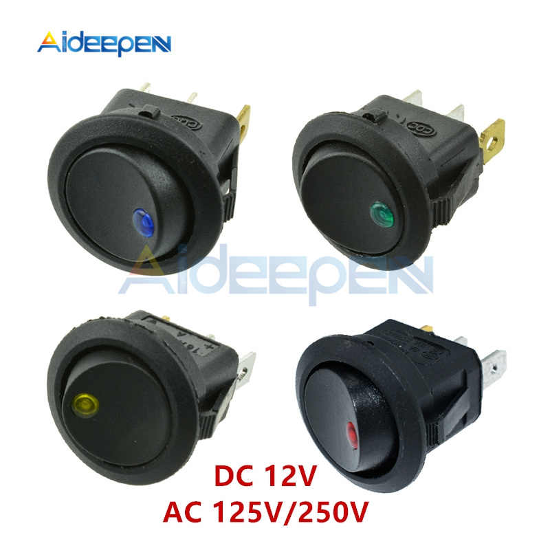 DC 12V Round LED Dot Light Switch Car Boat Round Rocker 3Pin ON/OFF Toggle SPST Switch Blue Yellow Red Green AC 125V 250V