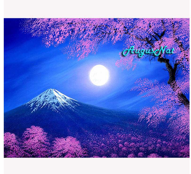 Fuji pittura diamante piazza piena di ciliegio albero di arte della parete paesaggio decor diamante dotz disegno diamante fai da te sticker luna mountain regalo