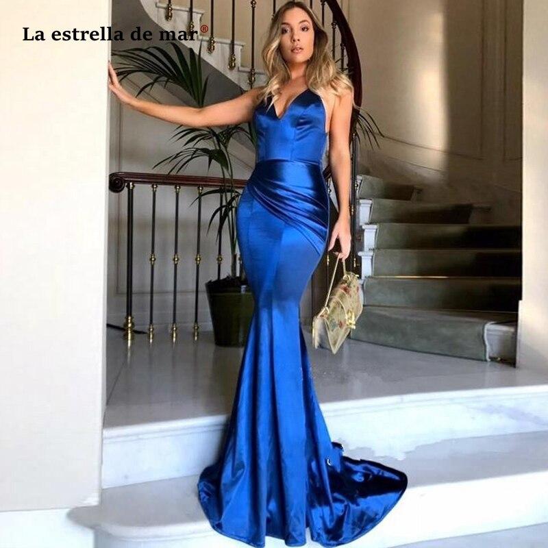 Vestidos de gala2019 new sexy V-neck satin backless royal blue mermaid prom dress long vestido gala corto custom