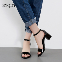 BYQDY Ankle Strap Women Summer Shoes 2018 High Heels Open Toe Soft Leather Shoes Sandals Female Thick Heels Fashion Buckle wetkiss 2018 summer women flat wedges sandals soft leather ladies shoes female fashion open toe footwear buckle strap punk rivet