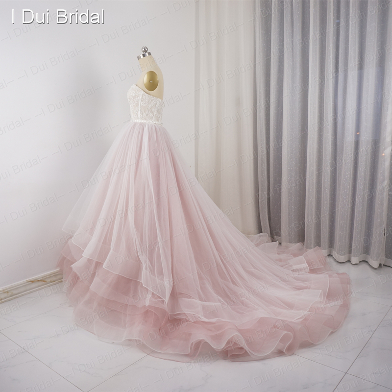 Sweetheart pale pink wedding dresses tulle layers lace pearl sweetheart pale pink wedding dresses tulle layers lace pearl beaded luxury fairy romantic bridal gown real photo in wedding dresses from weddings events junglespirit Gallery