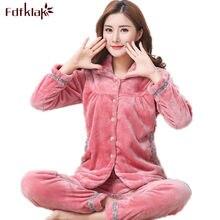 7b6bfe50b Fdfklak 2017 de franela de invierno para Mujer Pijamas familia Conjunto de  Pijama de gran tamaño