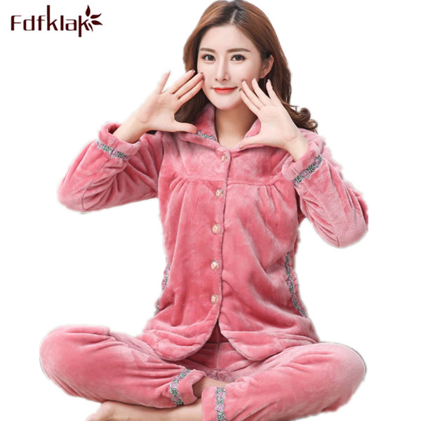 Fdfklak 2017 Flannel Womens Winter Pyjamas Family Pajama Set Large Size Pajamas Pijama Mujer Sleepwear Sets Home Clothes Q521