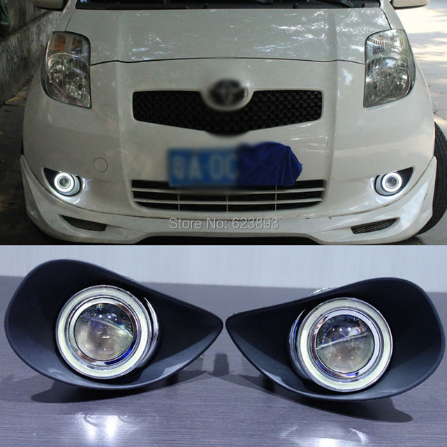For Toyota Yaris 2007 2009 Led Daytime Running Lights Drl Projector Lens Fog Angel Eyes Kit