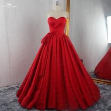 RSE895 Hoge Kwaliteit Luxe Plooirok Baljurk Met Afneembare Petticoat Rode Trouwjurk Satijn