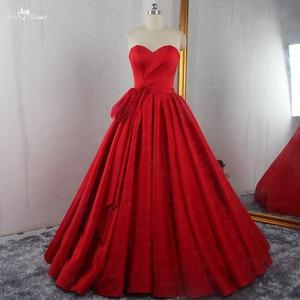 Image 1 - RSE895 عالية الجودة الفاخرة مطوي تنورة الكرة ثوب مع إزالة التنورة الداخلية الأحمر الزفاف اللباس الحرير