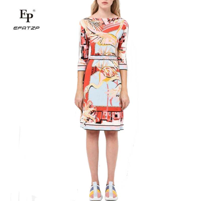 New 2018 Fashion Designer Dress Women's 3/4 Sleeves Slash Neck Colorful Bird Print  XXL Stretch Jersey Slim Silk Day Dress