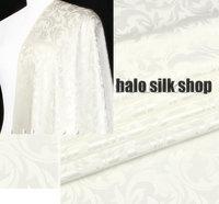 Natureza branco soild tingidos Ombre flores jacquard de seda tecido de cetim de seda para o vestido