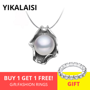 YIKALAISI 925 Sterling Silver Chain Natural Freshwater Pearl Seashell Pendants Fashion Jewelry For Women 10-11mm Pearl 4 Colour