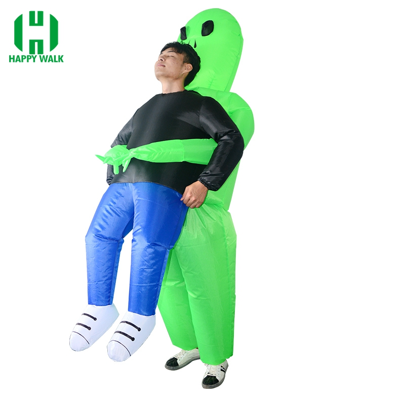 Inflatable Monster Costume Scary Green Alien Cosplay Costume for Adult Halloween Party Festival Stage Performance Clothing
