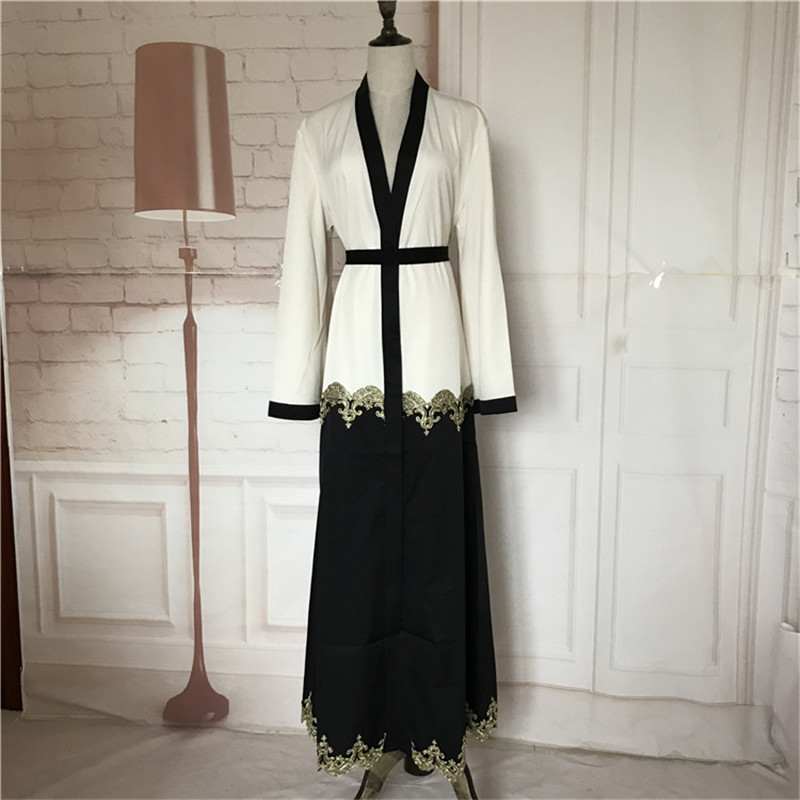 Muslim Cardigan Abaya Dress Turkish Women Clothing Long Dresses Dubai Fashion Open Cardigan Gown Abaya Flower Side Patchwork New