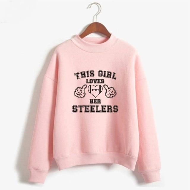best cheap 0bdd6 af6b0 This Girl Loves Her Steelers Turtlenecks Hoodies Sweatshirts Casual Hip Hop  Hoodies Casual Clothes Plus Size-in Hoodies & Sweatshirts from Women's ...