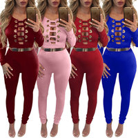 2016 Cut Out Bandage Bodysuits One Piece Sets Mesh Bodysuit Summer Jumpsuit Wholesale Sexy Long Sleeve