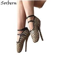 Sorbern Leopard Cross Tied Ballet Shoes Women Pump High Heel 18Cm Sexy Fetish Shoe Bdsm Shoes Heeled Pumps Footwear Big Size