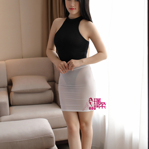 Image 3 - Sexy kobiety wysokie cięcie mocno spódnica ołówkowa lodowy jedwab przepuszczalność spódniczka mikro mini przezroczysta nocna spódnica klubowa ubrania fantasy erotyczne F9
