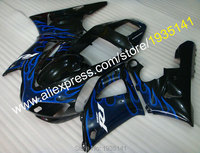 Hot Sales,Black body parts blue flame Motorbike fairing For Yamaha 1998 1999 YZF R1 98 99 YZF R1 YZF1000 R1 (Injection molding)