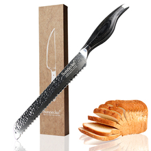 SUNNECKO High Quality 8 Bread Knife Damascus Steel Blade Japanese Kitchen Knives Pakka Wood Handle Sharp Cake Cutter Chef