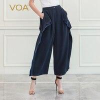 VOA тяжелый шелк Palazzo Штаны Повседневное Для женщин брюки Темно синие свободные плюс Размеры одежда Высокая талия широкие брюки пот Штаны осе