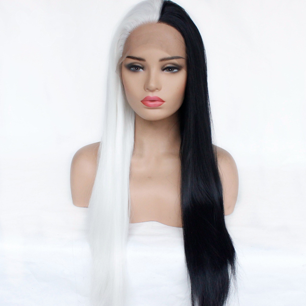 Marquesha Unique Style Synthetic Lace Front Wig For Women Half Black Half White Heat Resistant Fiber Straight Cosplay Wig