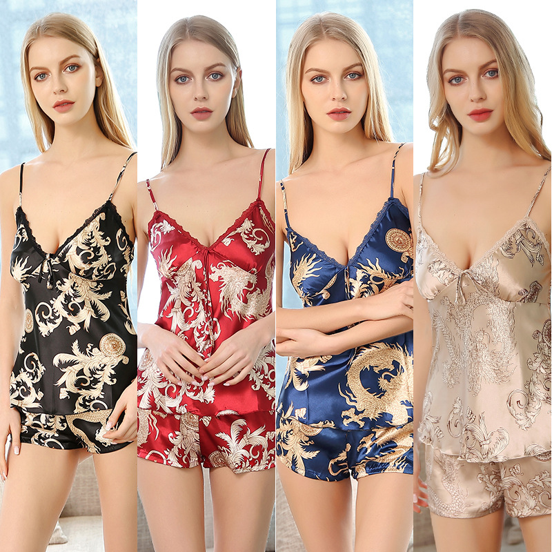 Perfering Nightgown Sexy Lace Sleepwear   Pajama     Sets   Women Chemise Lingerie Camisole Shorts Silk Negligee Fashion Lady 2 Pieces