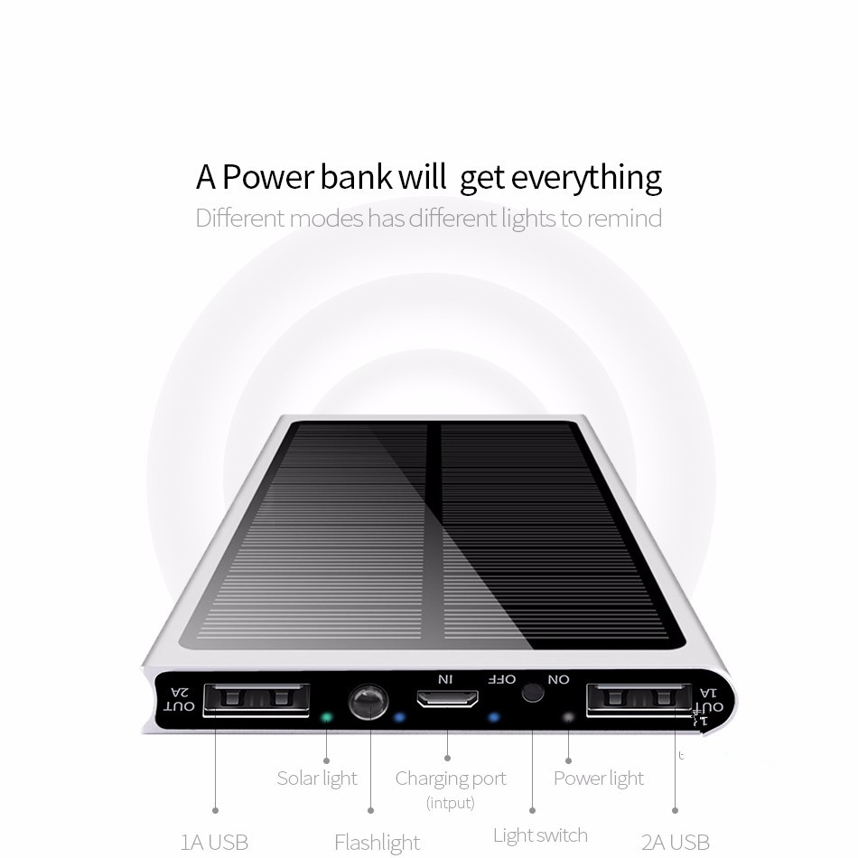 Solar Power Bank 30000mAh Double USB Solar charger External Battery Portable Charger Bateria Externa Pack for
