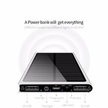 Солнечная батарея 30000 мАч двойной USB зарядное устройство Внешняя батарея Портативное зарядное устройство Bateria Externa пакет для смартфона