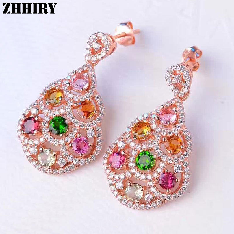 Women Natural Color Tourmaline Earrings Genuine 925 Sterling Silver Gemstone Fine Big Jewelry ZHHIRY