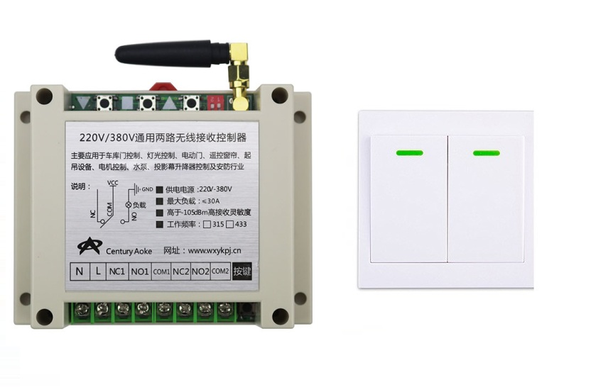 AC220V 250V 380V 30A 2CH Wireless Remote Control Switch Receiver+Wall Panel Remote Transmitter Sticky Remote Smart Home Switch ac 250v 20a normal close 60c temperature control switch bimetal thermostat