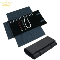 Jewelry Roll Bag Portable Carring Case Black PU Leather Organizer Necklace Pendant Storage Box Chain Bag