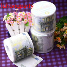2Packs 60m 100Euros money Printing Toilet Paper Tissues Roll Novelty Tissue Wholesale