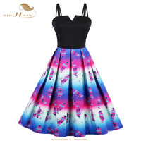 SISHION Purple Colorful Feather Print 50s 60s Vintage Dress Women Plus Size Spaghetti Strap Sexy Summer Dress vestidos VD0600