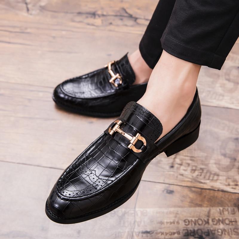 Punta dedo del pie zapatos para hombre zapatos de cuero genuino zapatos de boda de lujo impresión Floral hombres planos Oficina partido Formal de la boda zapatos k4