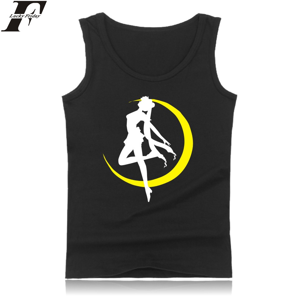 Tsukino Usagi Anime Sleeveless Tank Top Men Summer Funny Japanese Classic Cartoon Sailor Moon Bodybuilding Tank Top Fashion Vest