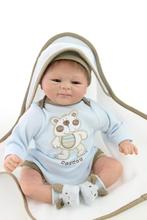 Classic 45cm 18inch Silicone Baby Doll With Soft Flannelette Cloak  Best Brinquedos For Children As Early Educational Doll Toys