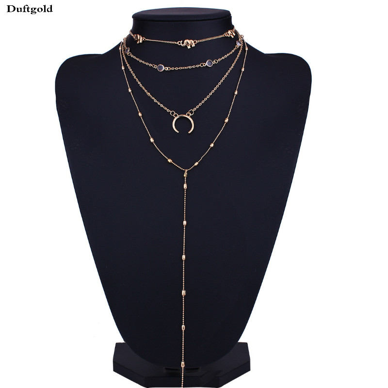 Fashion Simple New Multi layer Metal Gold Silver Necklace